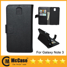 Wholesale Galaxy Note3 Holster Case - Newest PU Leather Flip Wallet Cover With ID Card Holder Stand Holster Case For Samsung Galaxy Note 3 N9000 Note3 Note III 7 Color 10pcs l