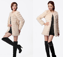 Wholesale Regular Hair - Winter Winter Women's new long section Imitation Leather grass coat rex rabbit hair Specials