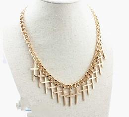 Chunky gold necklaces en Ligne-Chaîne Chunky Plaqué Or Drop Cross Charms Collier Bijoux