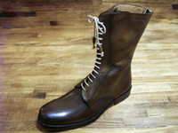 Wholesale Hd Boots - Men's boots Custom handmade shoes Genuie calf leather Color dark brown solid with lace-up new arrival HD-B017