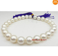 """Wholesale Real White Pearl Necklace - Fine Pearl Jewelry huge natural AAA+ 18""""13-14mm REAL NATURAL white pearl necklace 14k"""