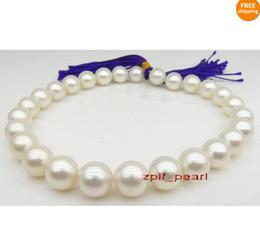 """Wholesale Gold Plate Necklace Chain Fine - Fine Pearl Jewelry huge natural AAA+ 18""""13-14mm REAL NATURAL white pearl necklace 14k"""