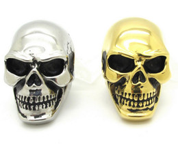 Wholesale Mens Gold Biker Rings - New Gift Huge Gold Silver Pig Nose Awesome Skull Ring Mens Boys Cool Punk Biker Stainless Steel Jewelry