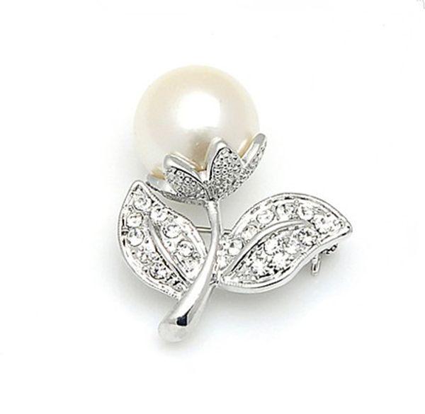 Silver Plated Rhinestone Crystal and Cream Pearl Small Pretty Flower Design Pin Brooch