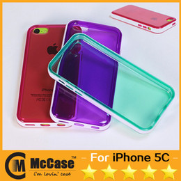 Wholesale iphone 5c colorful case - Top Quality Colorful Clear TPU Soft Case For IPHONE 5C Double Colors Soft Gel Cover Case For IPHONE 5C MINI Shockproof Mixed Colors 9 Color