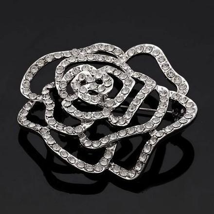 Funkelndes Rhodium-Silber überzogener freier Rhinestone-Kristall schöne Rosen-Blumen-Brosche