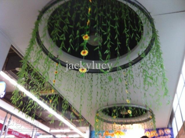 2M long Artificial Willow green willow Simulation silk willow leaf flower vine home decoration