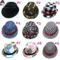 Wholesale Dicers Fedora Hats - 2013 new Baby Fedoras Children Canvas Fedora Hat Jazz Cap Kids Top Hat Dicers Children Headgear 10pcs lot free shipping