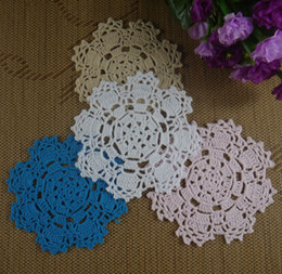 "vintage cotton tablecloths Australia - hand made 100% cotton vintage Crochet Doily tablecloths cup mat 5"" 13CM White Applique Coaster 20pcs LOT made to order"