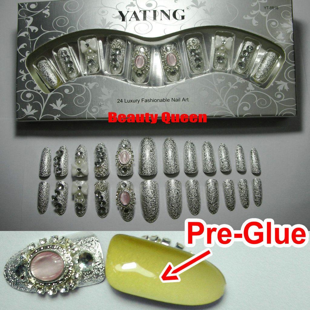 Super Gorgeous ! 24Tips/Box Silver Foil False Nail Tips * Pre-Glue ...