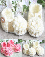 Wholesale Cheap China Kid Shoes - 35%off FREE SHOPPING!0-12MONTH! Wool large flowers sandals! Newborn Crochet Sandals cheap china kid shoes shoes online 6pairs 12pcs