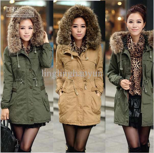 Winter Lady Detachable Big Fur Hood Coat,Army Green Faux Wool ...