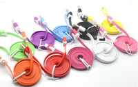 Flat Sync Noodles colorful flatness micro usb cable for sams...