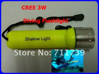 Wholesale Submarine Flashlight - LED Submarine Light Diving Flashlight Underwater Torch Waterproof CREE 3W Flash Light Lamp Free Shipping