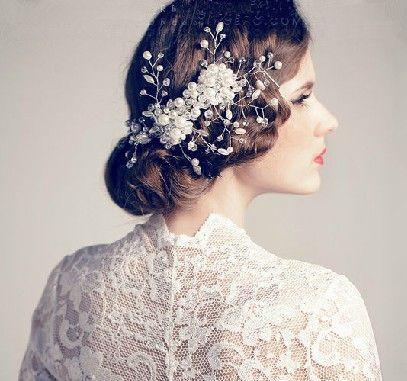 2019 nuevos accesorios para el cabello nupcial peine griega novia perlas del neumático alrededor de la frente de cristal diamante perla grano flor hermosa venta caliente
