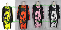 Wholesale Pencil Dress Color Block - 2013 Hot Selling Free shipping Chic Womens Celeb O-Neck Long Sleeve Contrast Floral Print Color Block Stretch Vintage Bodycon Pencil Dress