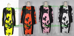 Wholesale hot pink pencil dress - 2013 Hot Selling Free shipping Chic Womens Celeb O-Neck Long Sleeve Contrast Floral Print Color Block Stretch Vintage Bodycon Pencil Dress