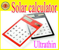 Wholesale Solar Transparent Calculators - Wholesale - 20pcs lot ultrathin   solar   transparent calculator   new exotic products, +retailer+droppi