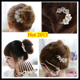 butterfly hair comb wedding 2019 - 2019 New Arrival Bridal Hair Accessories Comb Alloy + Semi-precious Stones Butterfly Flower Beautiful Wedding Hot Sellin