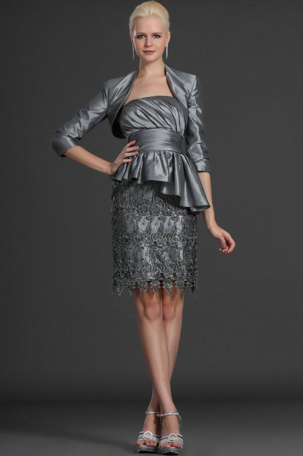 Modest Custom made 2019 New gray mother dresses lace formal evening dress elegant mother of the bride dresses with Bolero Jacket gla1956