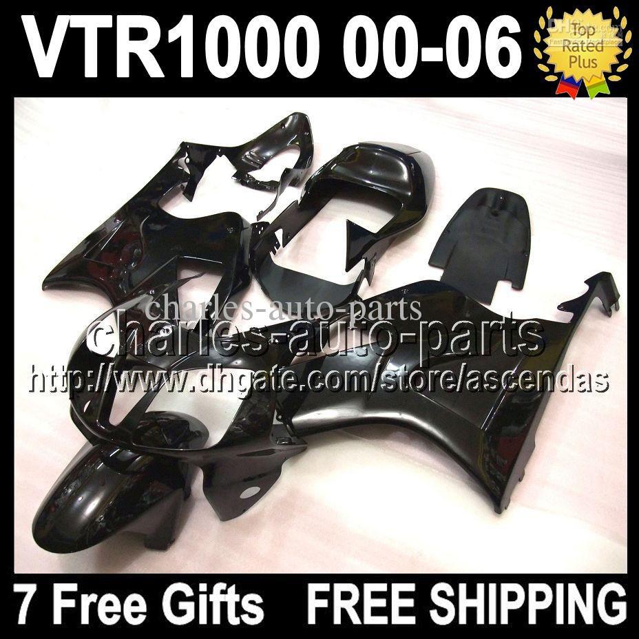 7gifts ALL Black para HONDA VTR1000 VTR 1000 RTV1000 00 01 02 03 04 05 06 Q55101 RTV 1000 R 2000 2001 2002 2003 2004 2005 2006 Kit de carenado