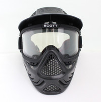Wholesale Drss Safty Airsoft Paintball Tactical Full Face Mask With Goggle Second Style Black BK
