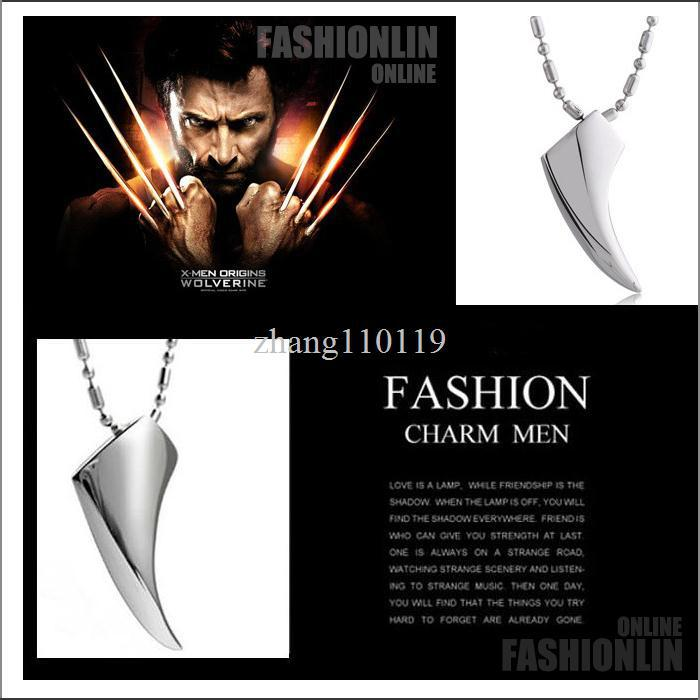 new Fashion Men's 316L Stainless Steel Wolf Tooth Pendant Necklace Animal Pendant Necklaces 316L Stainless Steel Jewelry