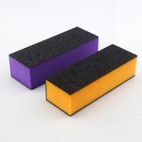 Wholesale Sponge Buffer Sanding Block - Brand Purple and Orange Sponge Sandpaper 3 Way Buffer Block Files Sanding File Nail Art Tools B006