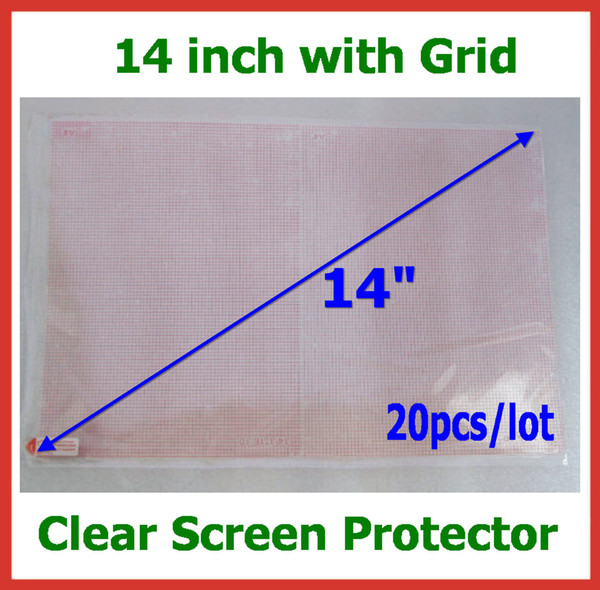 top popular 20pcs Crystal LCD Screen Protector with Grid 14 inch Size 310x175mm No Retail Package for Laptops Notebook Protective Film Wholesale 2019
