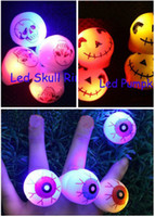 Wholesale Blinking Ball Lights - Free Ship 50pcs Led Light Up Flashing Eyeball Eye Ball Skull Pumpkin Bubble Elastic Ring Rave Party Blinking Soft Finger Lights Xmas Gift