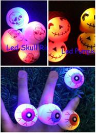 Wholesale Plastic Eyeballs Wholesale - Free Ship 50pcs Led Light Up Flashing Eyeball Eye Ball Skull Pumpkin Bubble Elastic Ring Rave Party Blinking Soft Finger Lights Xmas Gift