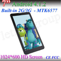 Wholesale Screen 6577 - Cheapest 7 Inch MTK 6577 Tablet PC Dual core Cortex A9 HD 1024*600 Capacitive Screen 512MB 4GB Dual camera 3G + GPS + Blutooth tablet pc