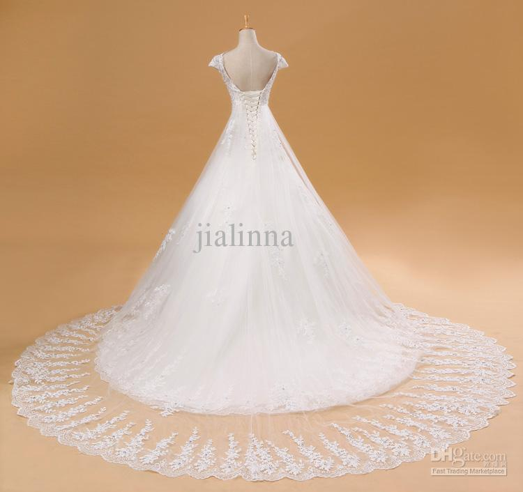 2014 Stunning V-Neck Short Sleeve Appliques Chapel Train Ball Gown Wedding Bridal Dresses Lady Wedding Bridal Gowns Free Shipping