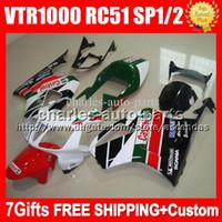 Wholesale Rc51 Fairings - 7gifts For HONDA VTR1000 2006 Castrol Red white VTR 1000 R RC51 SP1 SP2 RTV1000 #5537 RTV 2004 2005 2000 2001 2002 2003 Green Fairing