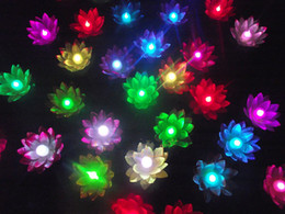 Wholesale led floating lanterns - 20 cm Diameter LED Lotus lamp in Colorful Changed floating water Wishing Light Water Lanterns For Party Decoration