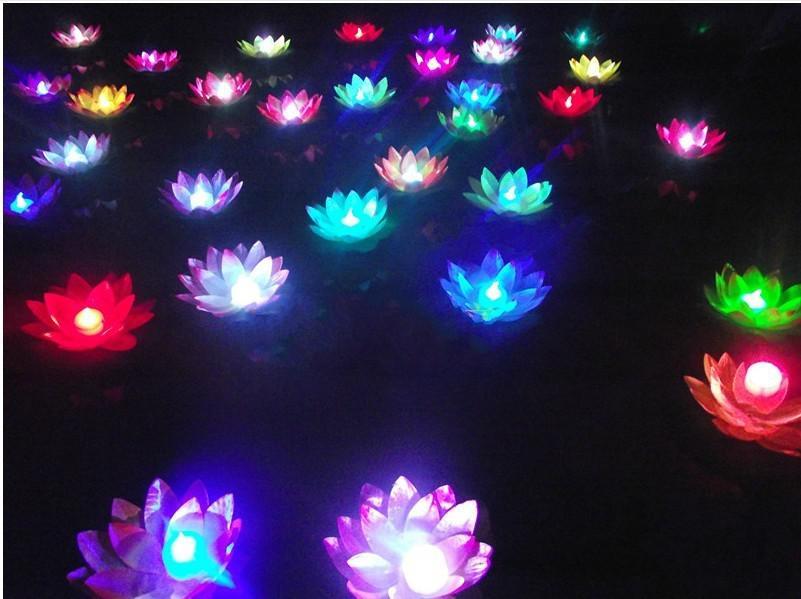 20 cm de Diâmetro LED lâmpada de Lótus em Colorido Changed flutuante Água Desejando Luz Lanternas de Água Para Decoração Do Partido