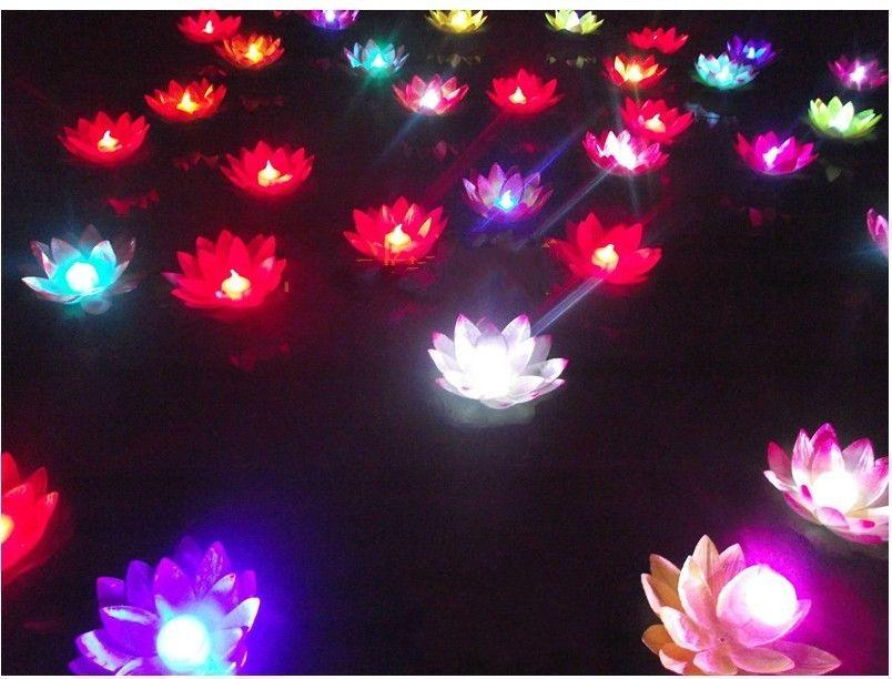 20 cm Çap LED Değişen Lotus lamba içinde Renkli Değişen yüzen su Isteyen Işık Su Fenerler Ile Parti Dekorasyon
