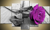 Wholesale Purple Hand Mirror - Hand-painted Hi-Q modern fashion wall art home decorative landscape flower oil painting on canvas A sprig purple Rose 5pcs set framed