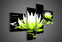 Wholesale Canvas Oil Painting Green Lilies - Hand-painted Hi-Q modern wall art home decorative abstract flower oil painting on canvas Blooming Light green Water lily 4pcs set framed