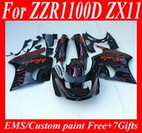Wholesale Zx11 Fairings - Fairings kit for KAWASAKI Ninja ZZR1100 93 94 99 00 01 ZX11 1993 2001 ZZR1100D Red white flames gloss blk Fairing set+7gifts ZD48