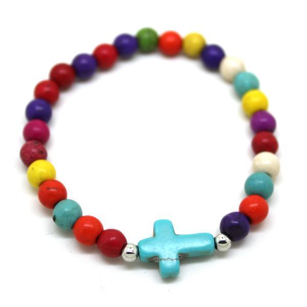 encanto natural de la turquesa la paz cruz de piedra pulseras hombres mujeres brazaletes orden de la mezcla hecha a mano de la nueva llegada / multicolor