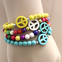 Wholesale order turquoise stones for sale - Group buy Natural charm Turquoise stone peace cross Bracelets Men Women bangles handmade mix order New arrival Multicolor