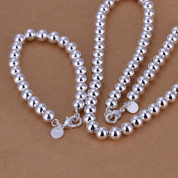 Al por mayor - el precio más bajo regalo de Navidad de plata de ley 925 de moda 10 mm sólido collar + pulseras conjunto QS049