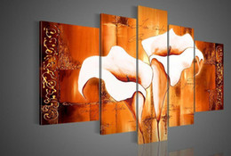 Wholesale Red Floral Wall Art - Hand-painted Hi-Q modern wall art home decorative landscape flower oil painting on canvas Orange red Calla lily texture 5pcs set framed
