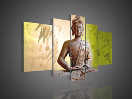Wholesale Buddha Painting Green - Hand-painted Hi-Q wall art home decor flower oil painting on canvas Religious Sakyamuni Buddha statue Bamboo leaves green 5pcs set framed