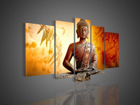 Wholesale Set Painting Wall Orange - Hand-painted Hi-Q wall art home decor flower oil painting on canvas Religious Sakyamuni Buddha statue Bamboo leaves Orange 5pcs set framed