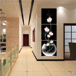 Pintado a mano Hi-Q moderno arte de la pared decorativa casera abstracta pintura al óleo sobre lienzo Flor de agua Plantas 3pcs / set enmarcado desde fabricantes