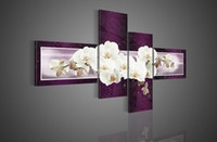 Wholesale Modern Floral Art Paintings - Hand-painted Hi-Q modern fashion wall art home decorative flower oil painting on canvas White butterfly Orchid purple 4pcs set framed