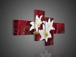 Wholesale Texture Oil Art Paint - Hand-painted Hi-Q modern fashion wall art home decorative flower oil painting on canvas White lily flower texture on red 4pcs set framed