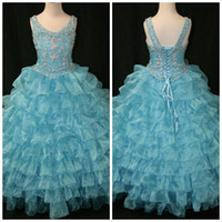 Wholesale Turquoise Rhinestones Color Dress - Popular Turquoise Off The Shoulder Little Rosie Rhinestone Little Rosie Girls Long Party Prom Pageant Dress Gowns LR828